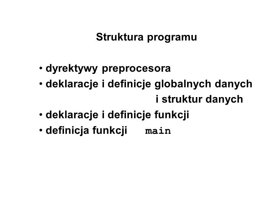 Struktura programu dyrektywy preprocesora. deklaracje i definicje globalnych danych i struktur danych.