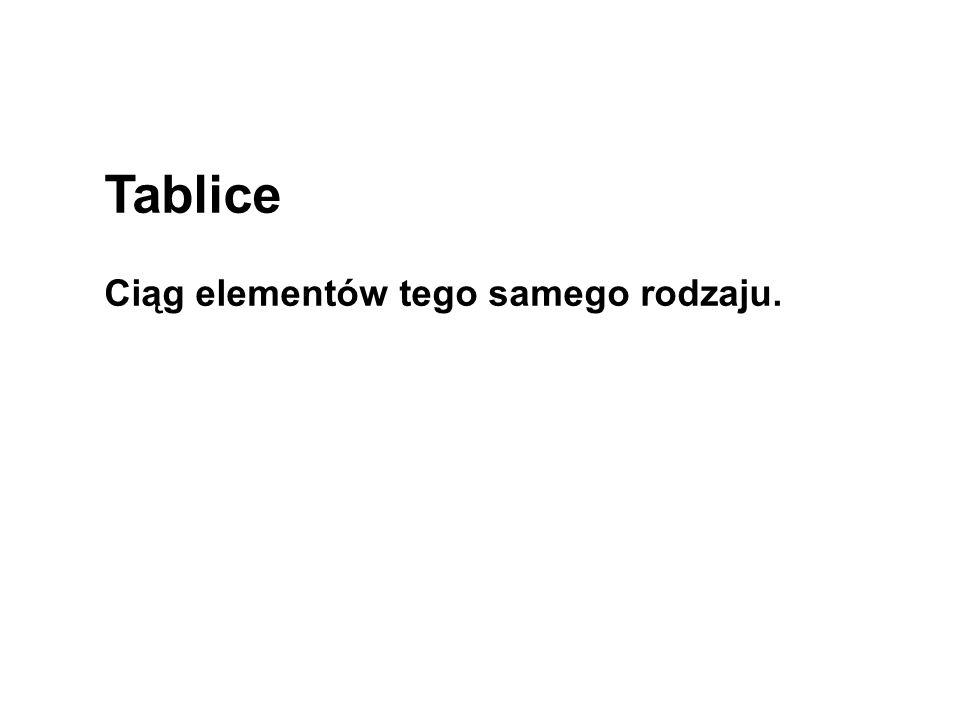 Tablice Ciąg elementów tego samego rodzaju.