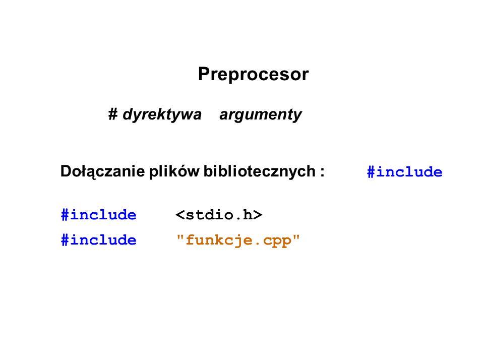 Preprocesor # dyrektywa argumenty