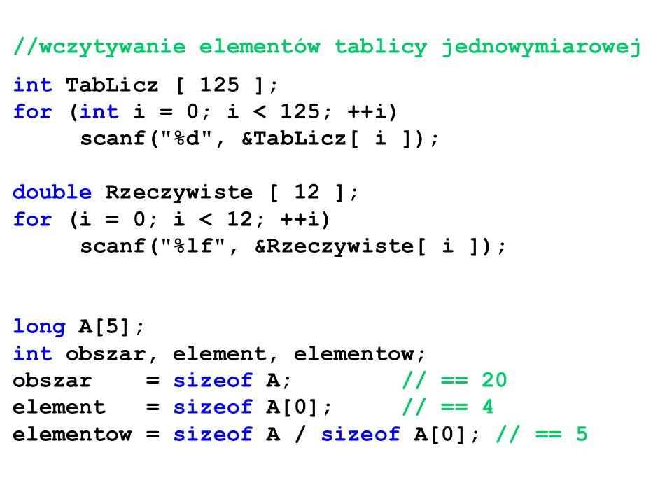 //wczytywanie elementów tablicy jednowymiarowej
