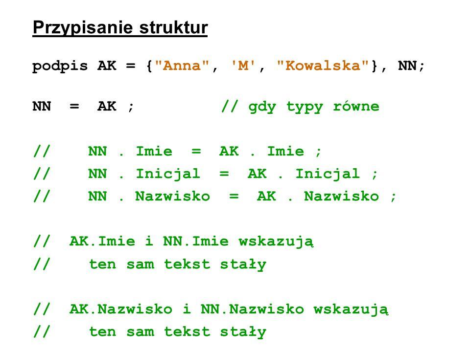 Przypisanie struktur podpis AK = { Anna , M , Kowalska }, NN;
