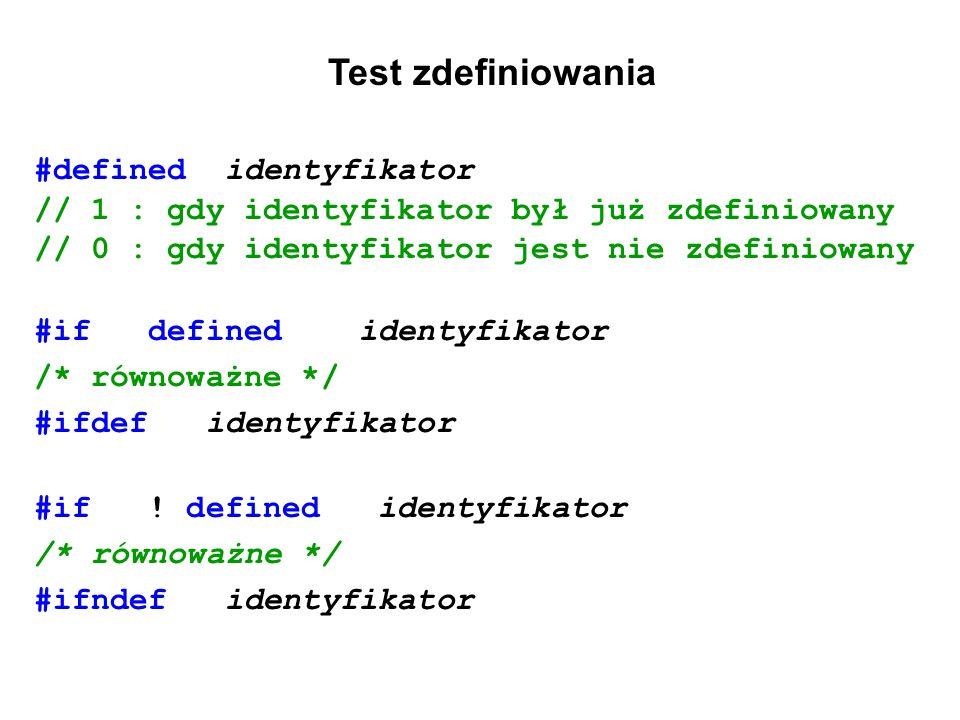 Test zdefiniowania #defined identyfikator