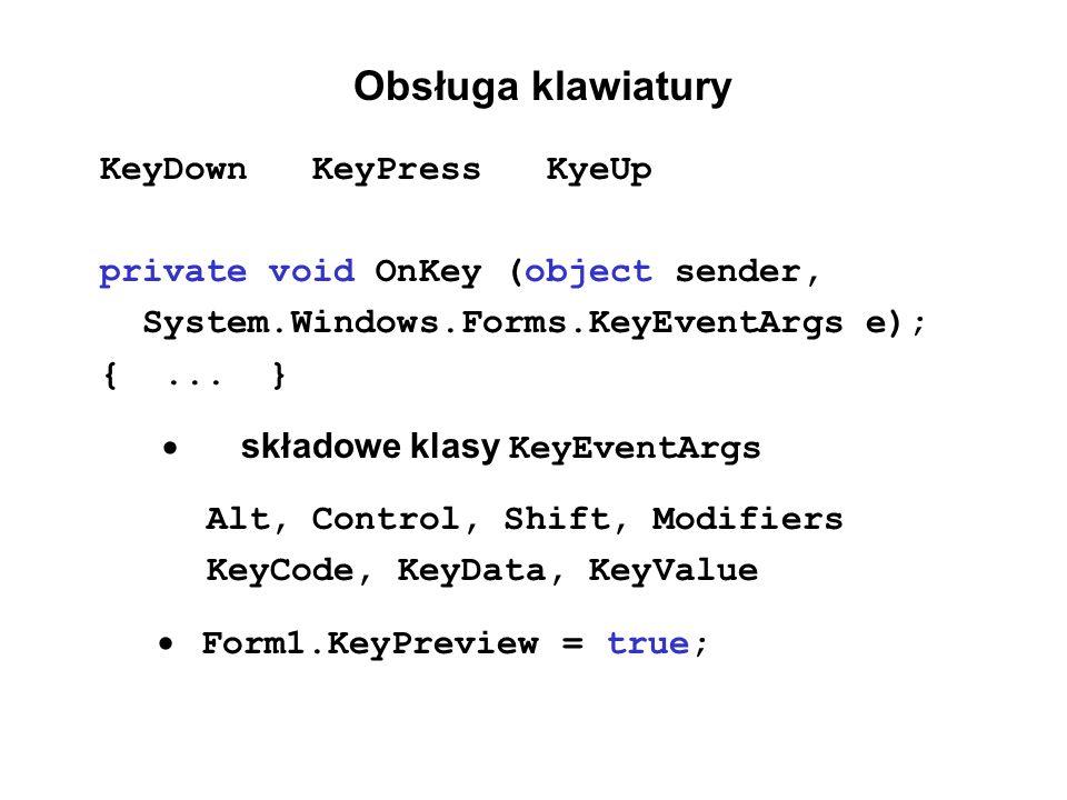 Obsługa klawiatury KeyDown KeyPress KyeUp