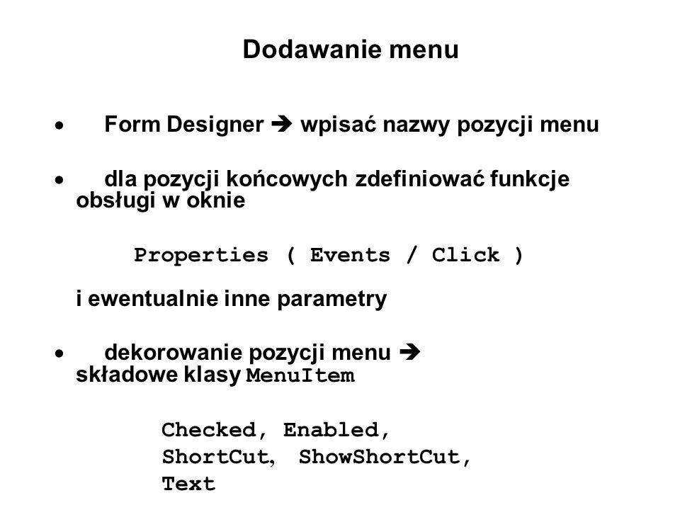 · dla pozycji końcowych zdefiniować funkcje obsługi w oknie