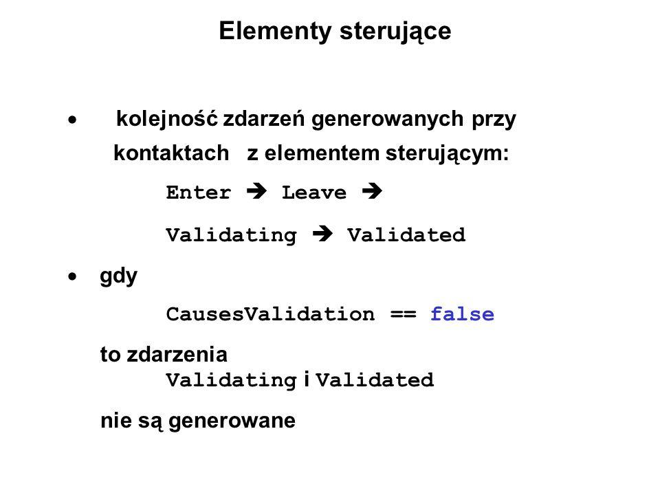 Elementy sterujące · kolejność zdarzeń generowanych przy