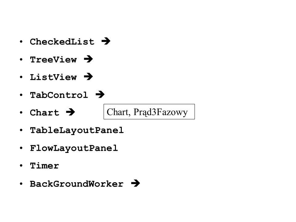 CheckedList  TreeView  ListView  TabControl  Chart  TableLayoutPanel. FlowLayoutPanel. Timer.
