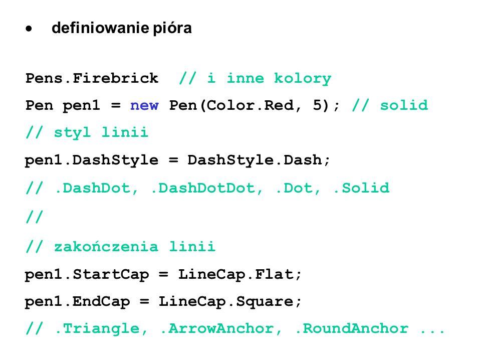  definiowanie pióra Pens.Firebrick // i inne kolory. Pen pen1 = new Pen(Color.Red, 5); // solid.