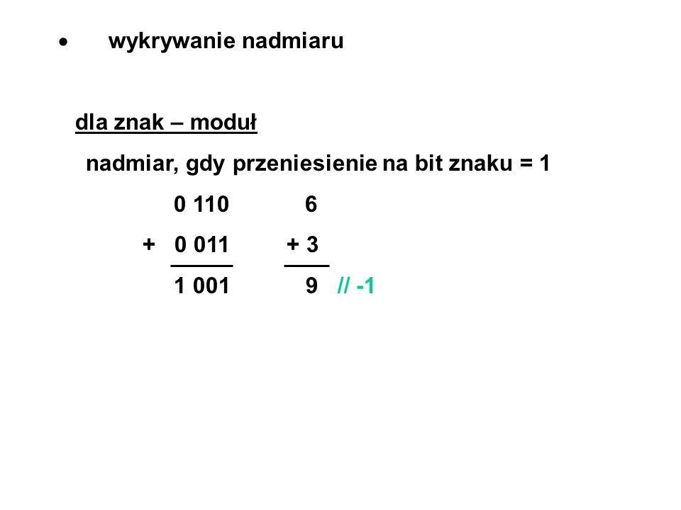 · wykrywanie nadmiaru dla znak – moduł. nadmiar, gdy przeniesienie na bit znaku = 1. 0 110 6.