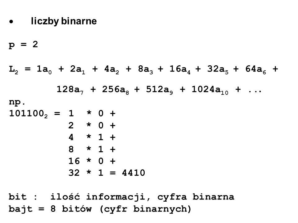 · liczby binarne p = 2. L2 = 1a0 + 2a1 + 4a2 + 8a3 + 16a4 + 32a5 + 64a6 + 128a7 + 256a8 + 512a9 + 1024a10 + ...