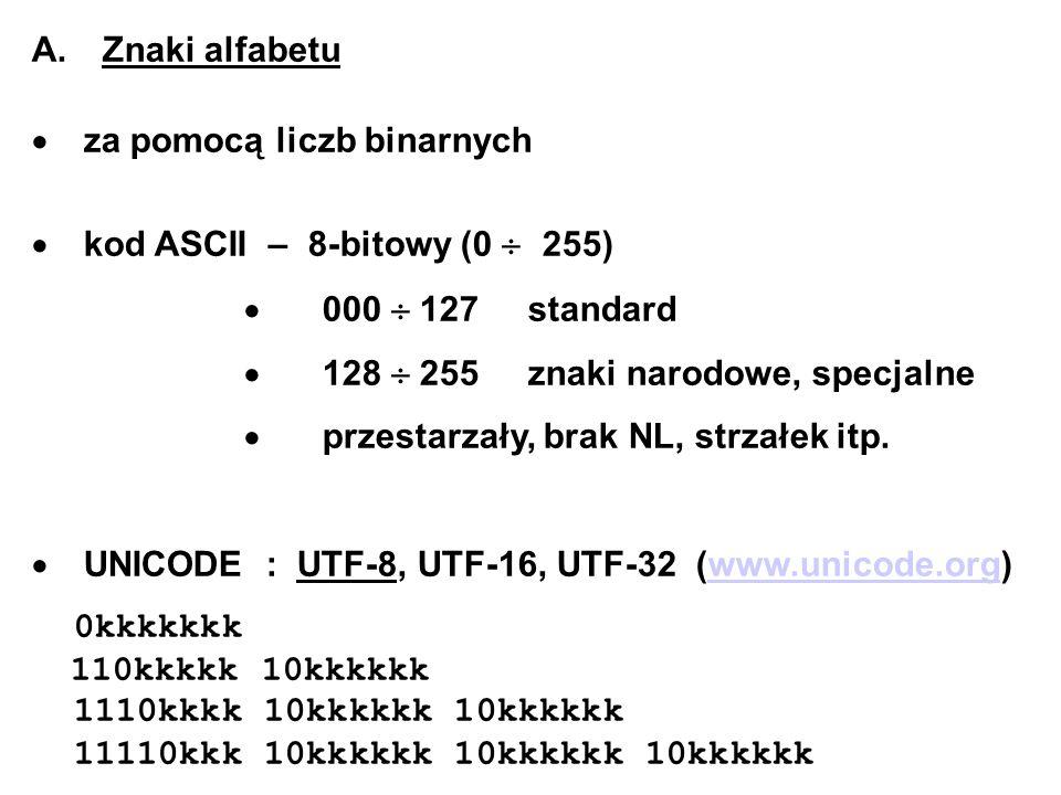 A. Znaki alfabetu · za pomocą liczb binarnych. · kod ASCII – 8-bitowy (0  255) · 000  127 standard.