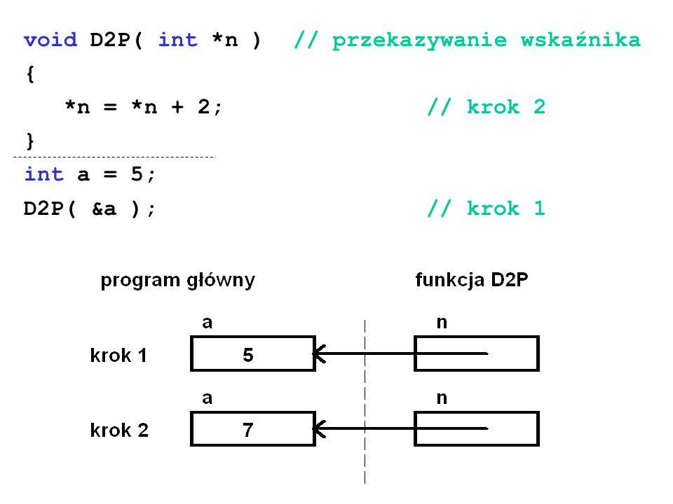 void D2P( int *n ) // przekazywanie wskaźnika