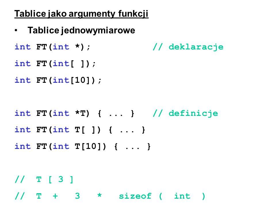 Tablice jako argumenty funkcji