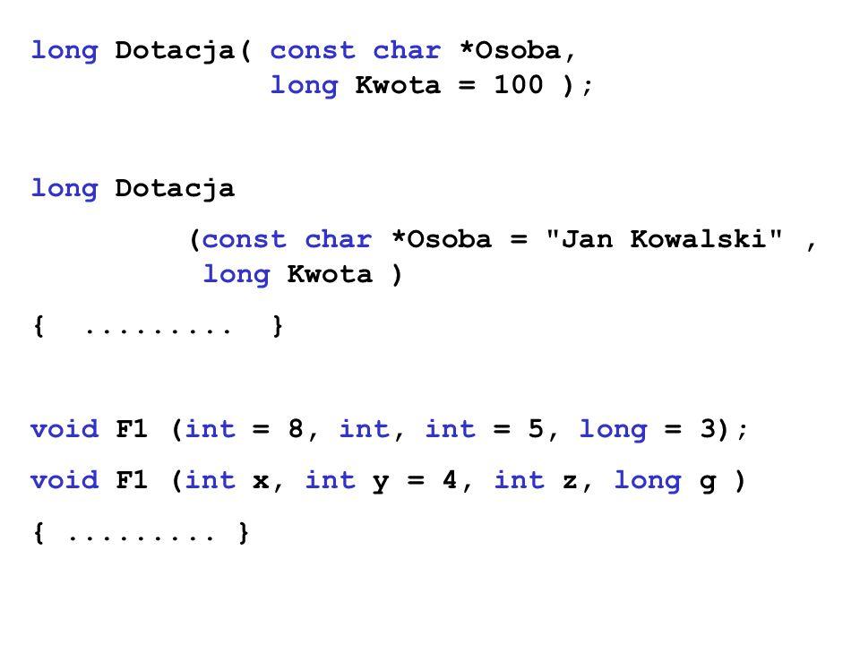 long Dotacja( const char *Osoba, long Kwota = 100 );