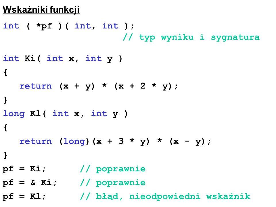 Wskaźniki funkcji int ( *pf )( int, int ); // typ wyniku i sygnatura.