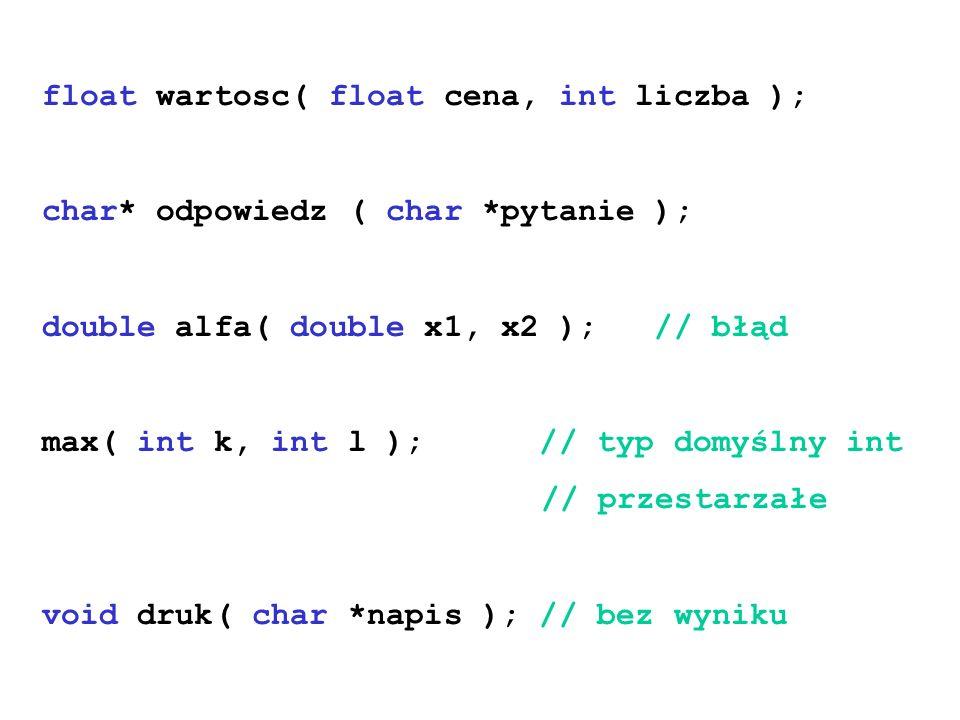 float wartosc( float cena, int liczba );