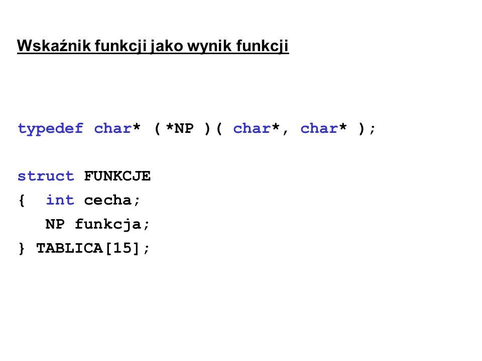Wskaźnik funkcji jako wynik funkcji