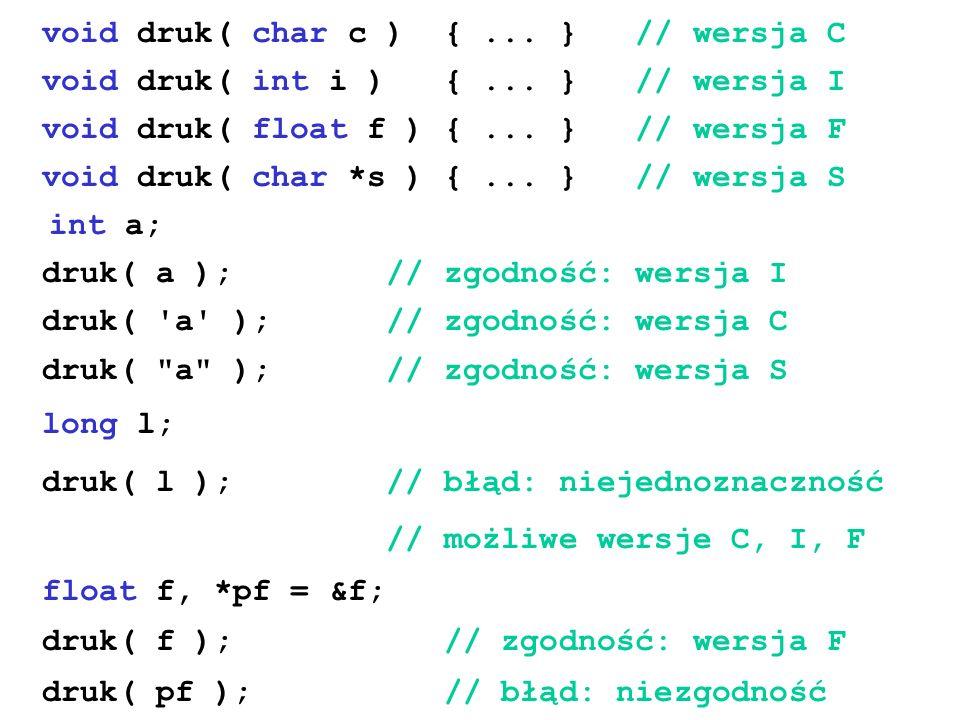 void druk( char c ) { ... } // wersja C