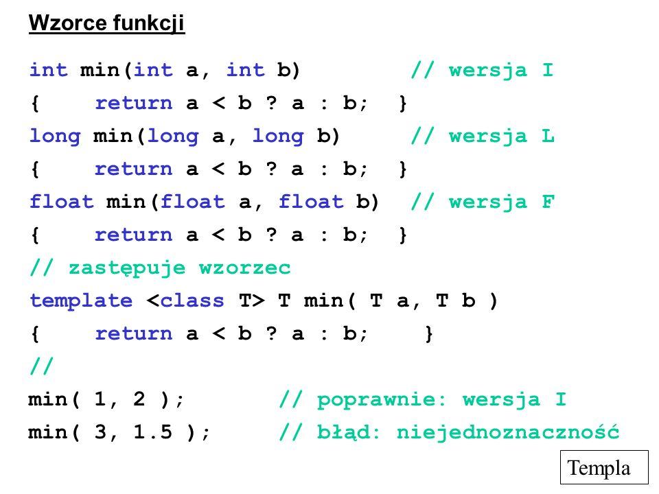 int min(int a, int b) // wersja I { return a < b a : b; }