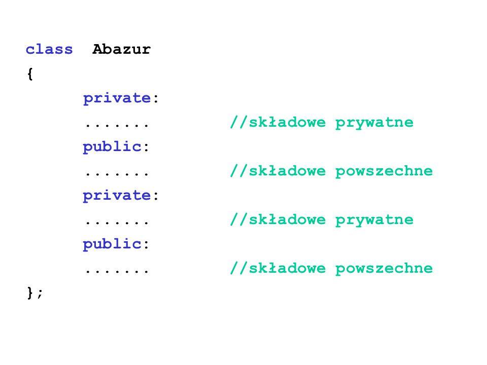 class Abazur { private: ....... //składowe prywatne. public: ....... //składowe powszechne.