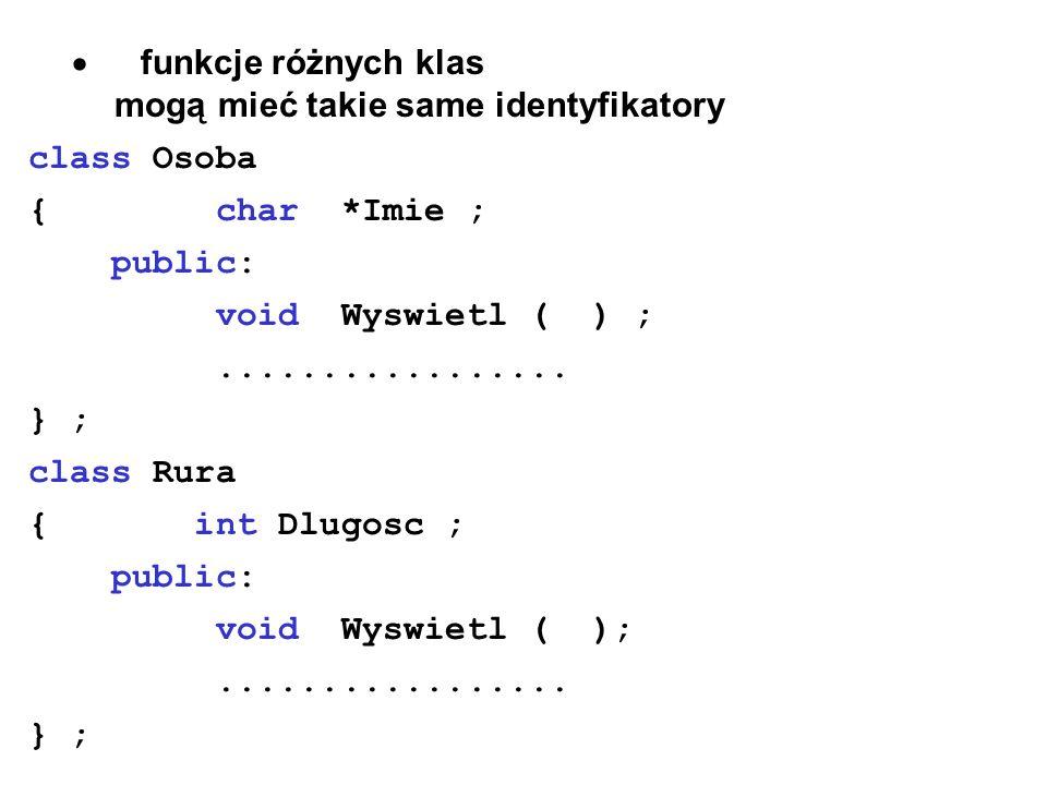 · funkcje różnych klas mogą mieć takie same identyfikatory