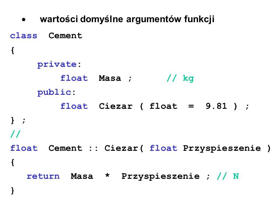 · wartości domyślne argumentów funkcji