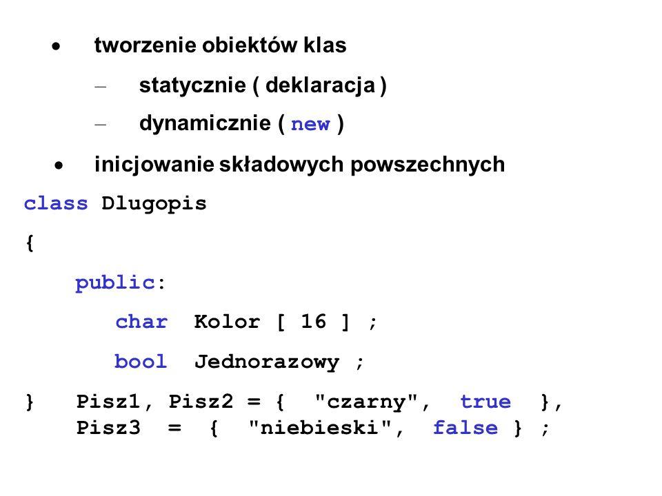 · tworzenie obiektów klas