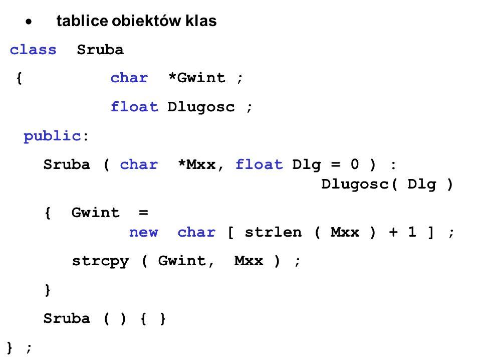 · tablice obiektów klas