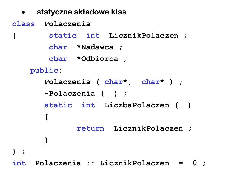 · statyczne składowe klas