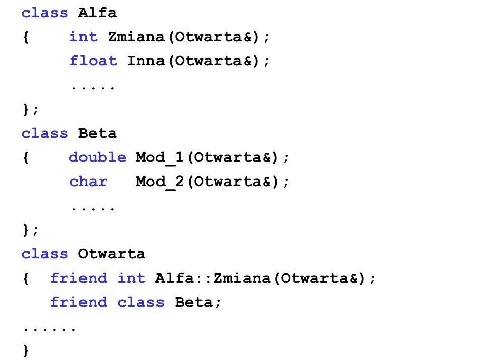 class Alfa { int Zmiana(Otwarta&); float Inna(Otwarta&); ..... }; class Beta. { double Mod_1(Otwarta&);
