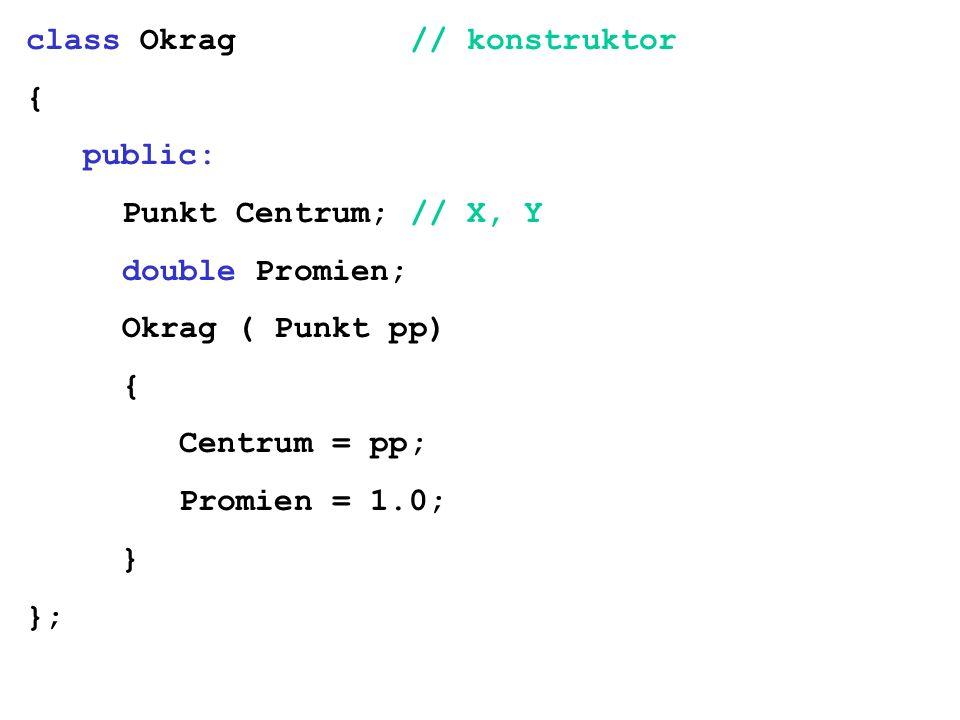 class Okrag // konstruktor