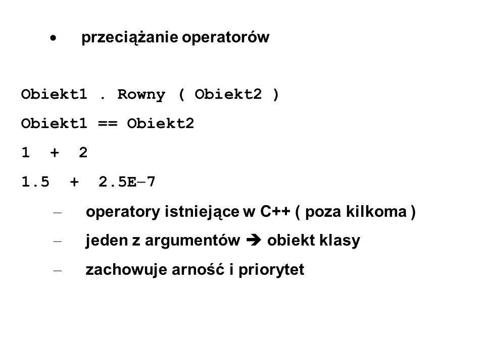 · przeciążanie operatorów