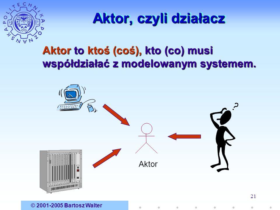 Aktor, czyli działacz Aktor to ktoś (coś), kto (co) musi współdziałać z modelowanym systemem. Aktor.