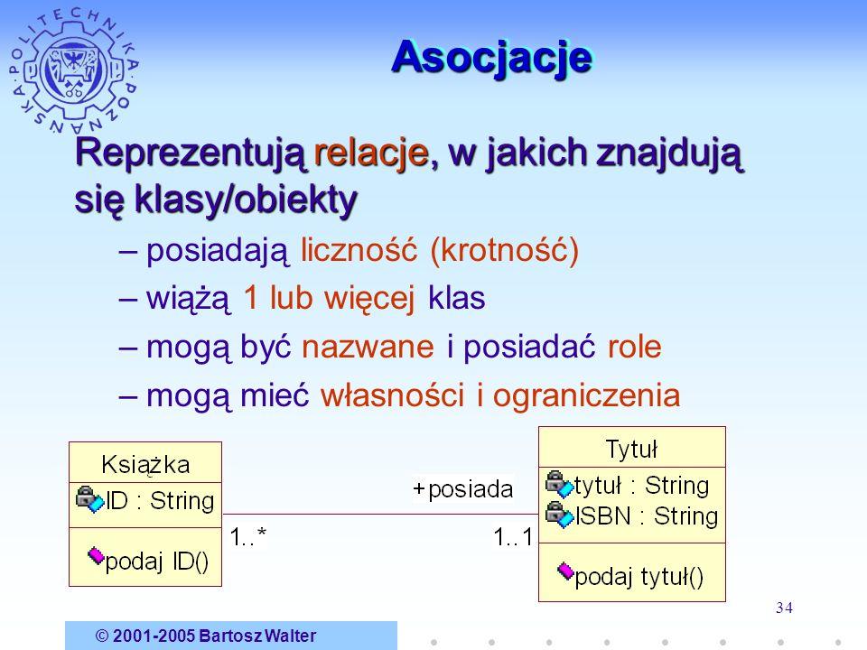 Asocjacje Reprezentują relacje, w jakich znajdują się klasy/obiekty
