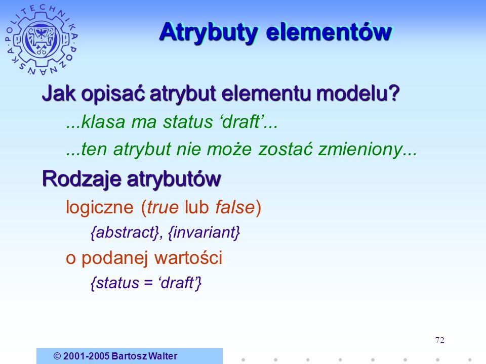 Atrybuty elementów Jak opisać atrybut elementu modelu