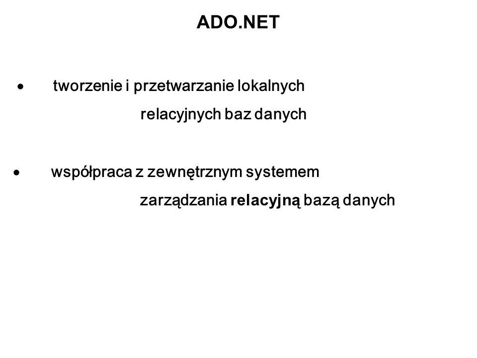 ADO.NET · tworzenie i przetwarzanie lokalnych relacyjnych baz danych