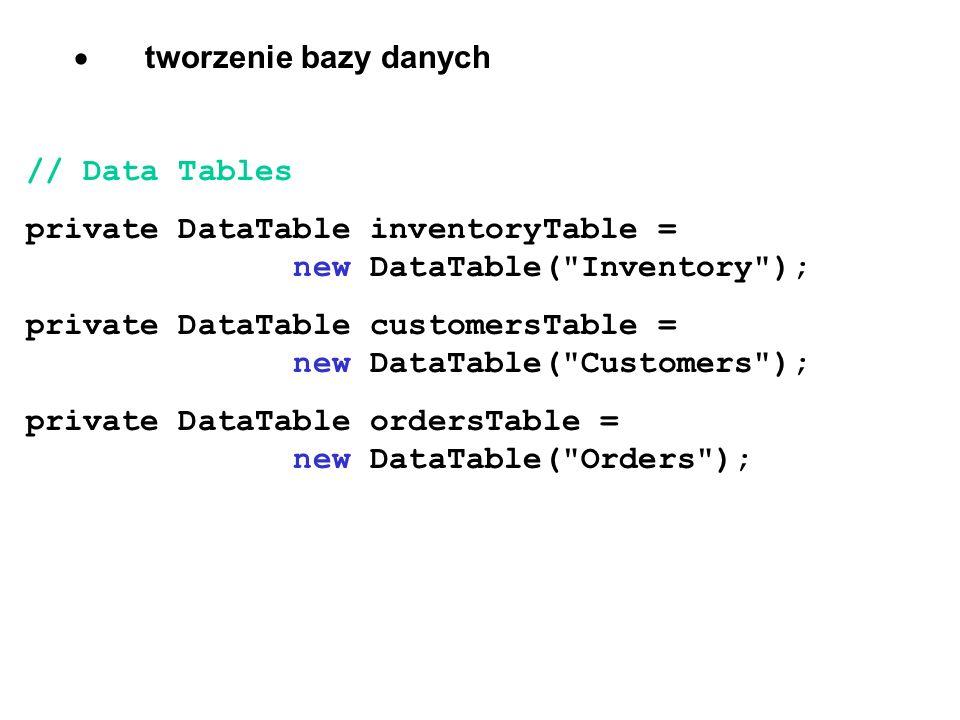 · tworzenie bazy danych