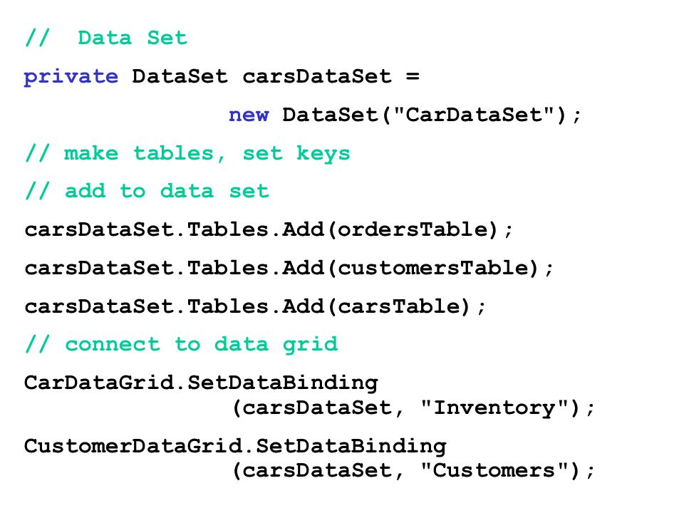 // Data Set private DataSet carsDataSet = new DataSet( CarDataSet ); // make tables, set keys. // add to data set.