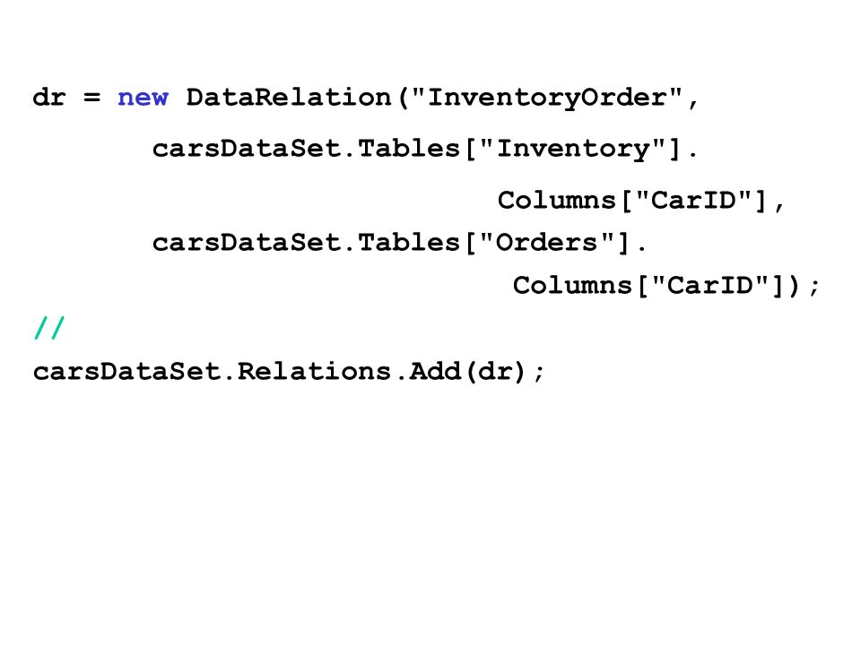 dr = new DataRelation( InventoryOrder , carsDataSet