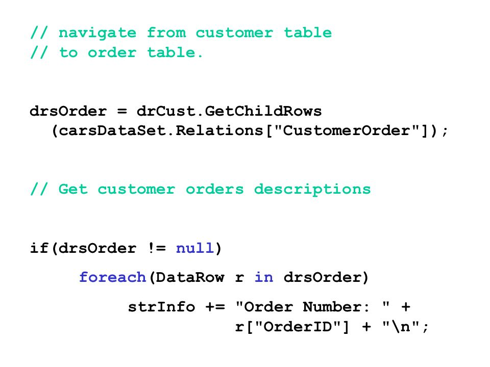 // navigate from customer table // to order table.