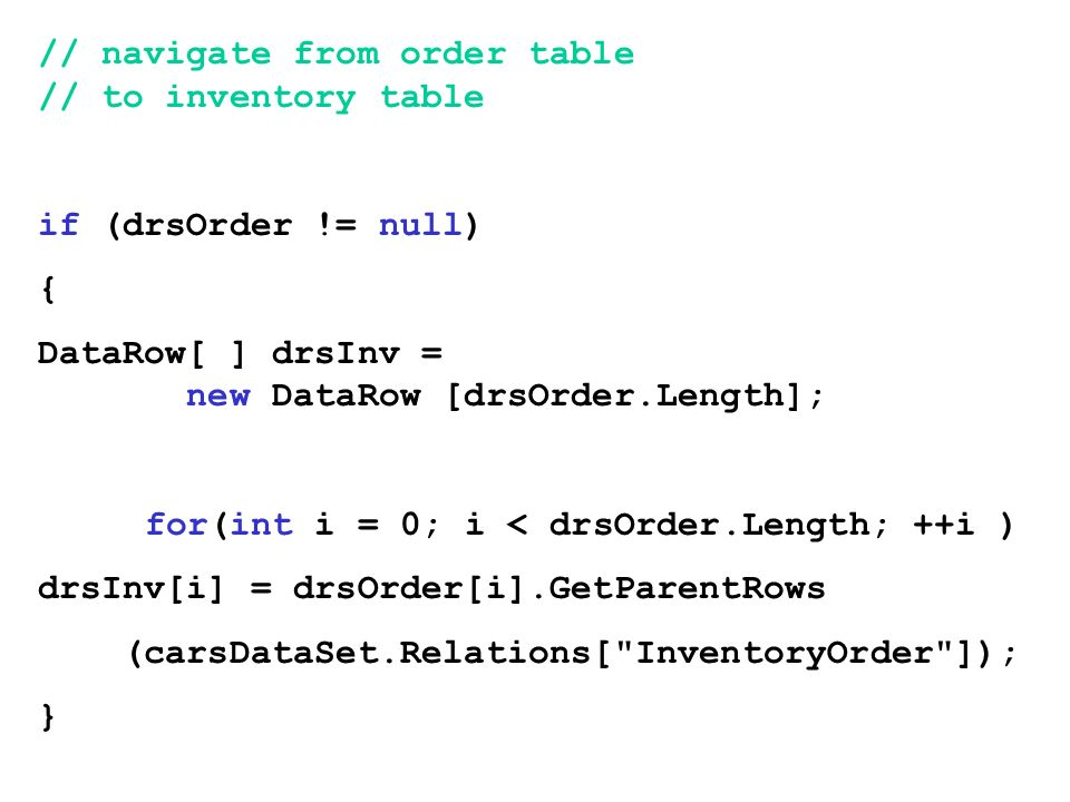 // navigate from order table // to inventory table
