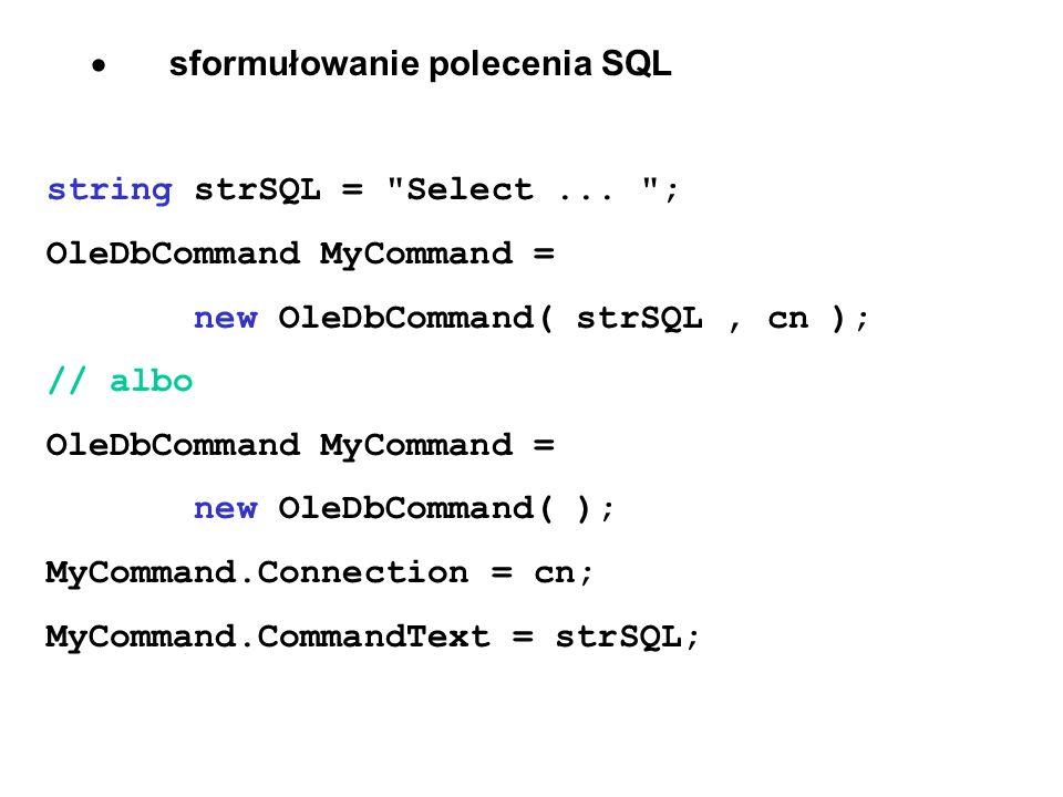 · sformułowanie polecenia SQL