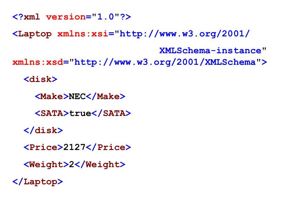 < xml version= 1.0 > <Laptop xmlns:xsi= http://www.w3.org/2001/ XMLSchema-instance xmlns:xsd= http://www.w3.org/2001/XMLSchema >