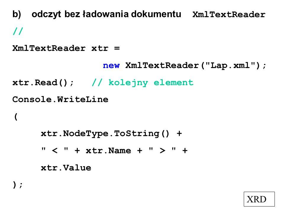 b) odczyt bez ładowania dokumentu XmlTextReader
