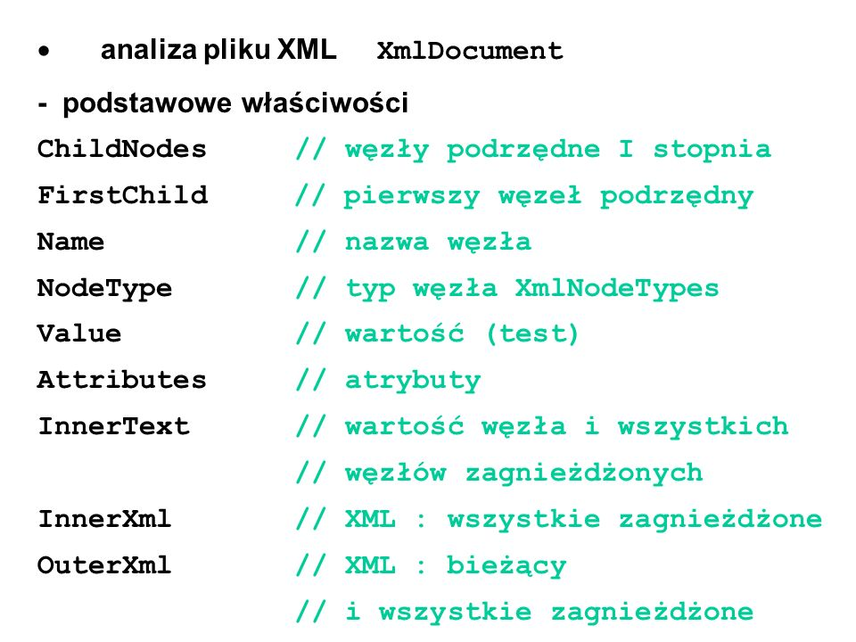 · analiza pliku XML XmlDocument