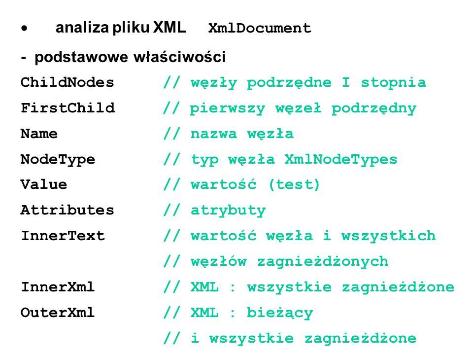 · analiza pliku XML XmlDocument