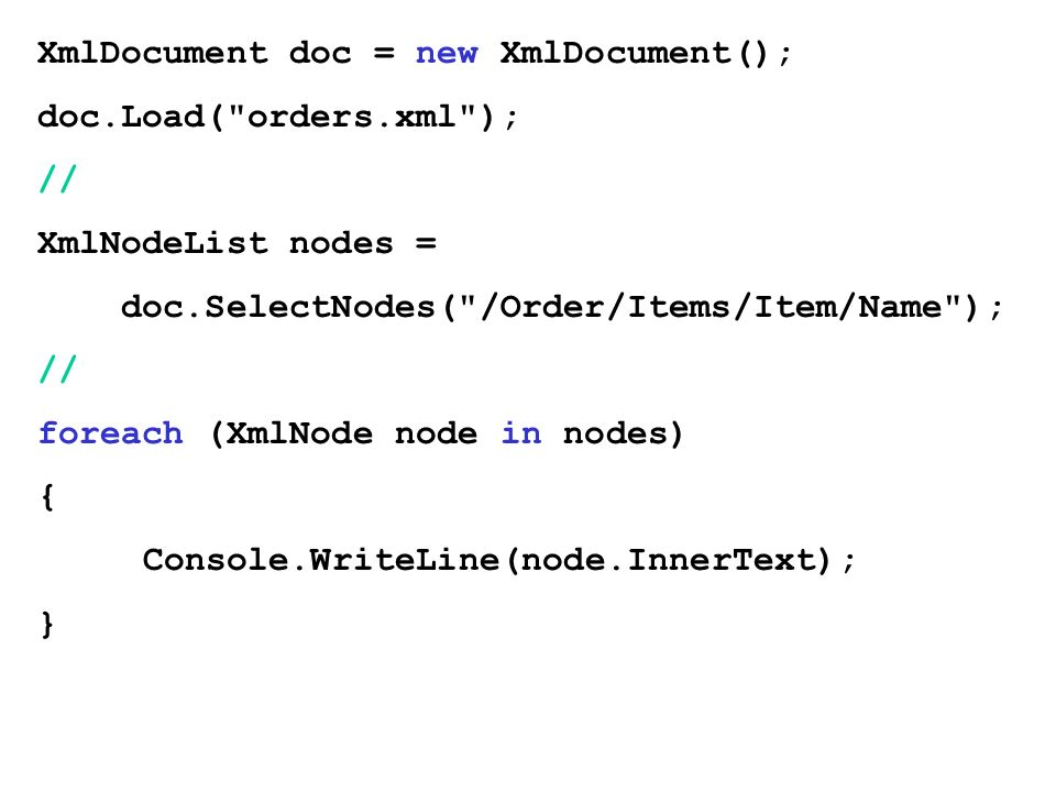 XmlDocument doc = new XmlDocument();
