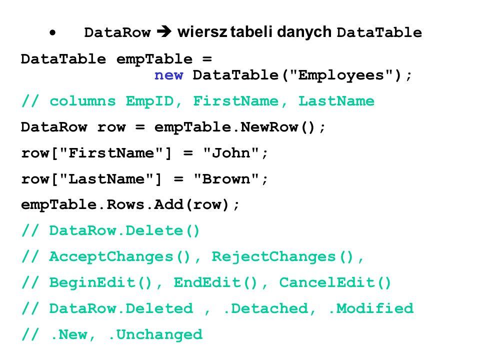 · DataRow  wiersz tabeli danych DataTable