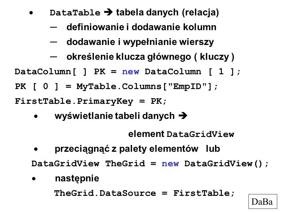 · DataTable  tabela danych (relacja)