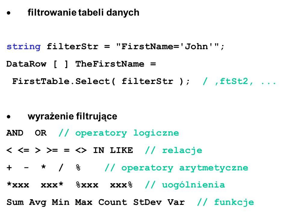 · filtrowanie tabeli danych