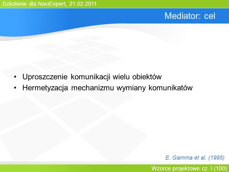 Mediator: cel Uproszczenie komunikacji wielu obiektów